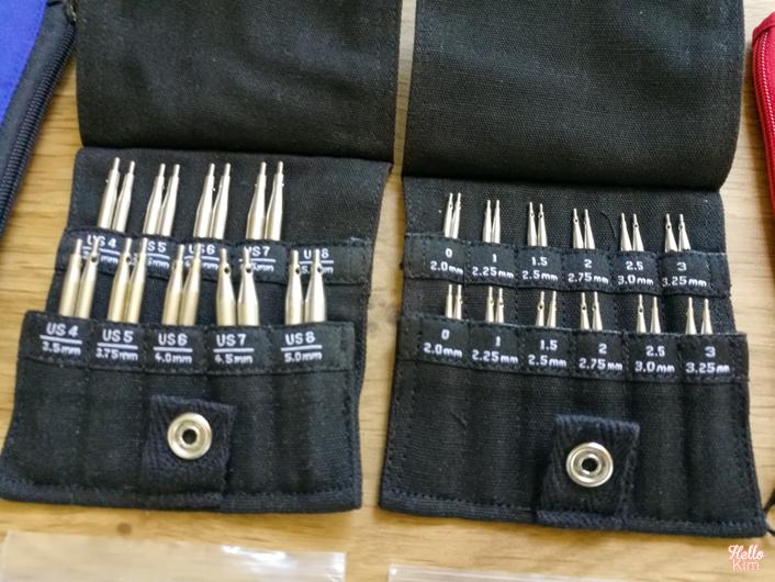 Kit aiguilles circulaires Twist shorties Mini et Small de ChiaoGoo - comparatif tailles aiguilles