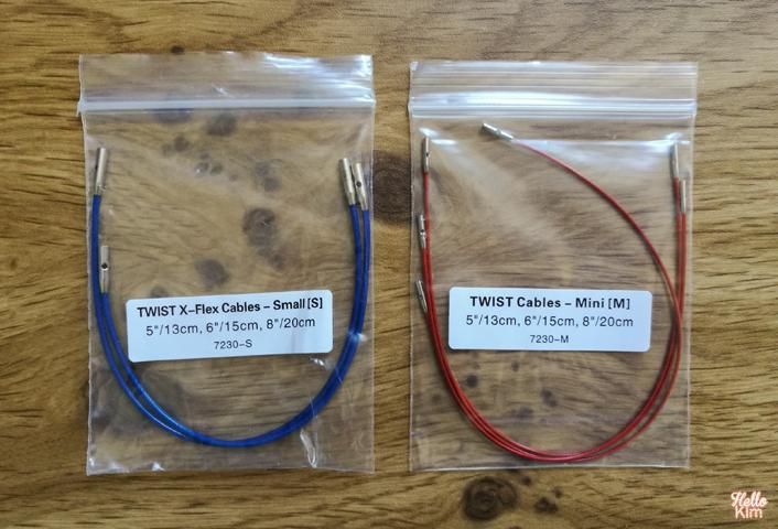 Kit aiguilles circulaires Twist shorties Mini et Small de ChiaoGoo - comparatif tailles câbles