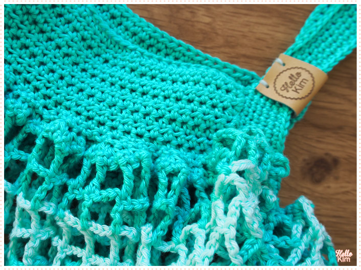 Shopping bag au crochet, détails