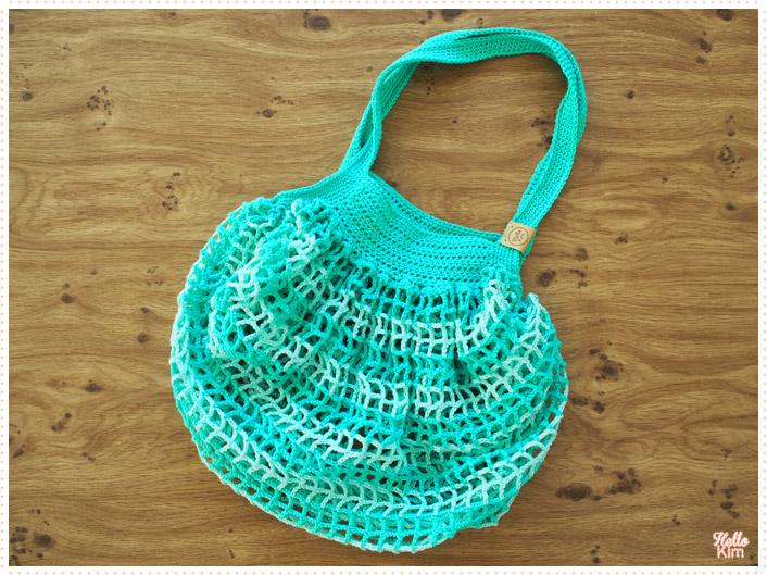 Shopping bag au crochet, coloris piscine