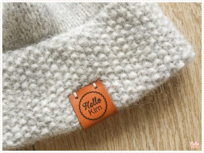 Bonnet en Drops air, étiquette en cuir