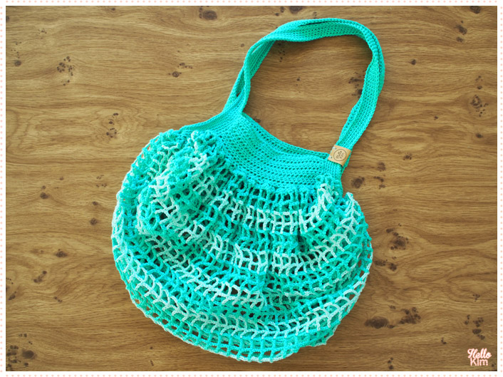Shopping bag au crochet, coloris piscine