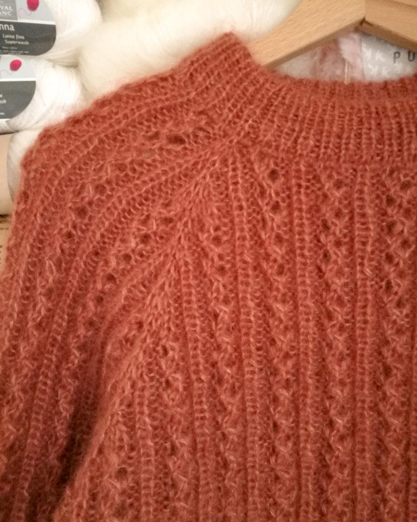 Waffle sweater, Manche raglan